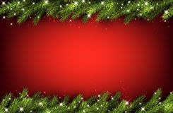 Christmas background with fir branches. Red Christmas background with green fir branches. Vector illustration Royalty Free Stock Image