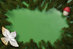 Christmas background from fir branches and retro New-Year tree d Stock Photography