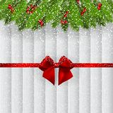 Christmas background with fir branches and ribbon royalty free stock image