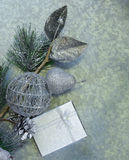 Christmas background fir branches with silver decorations Stock Photos