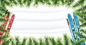Christmas background with fir branches, snow and skiing. Snow top view. Vector illustration Stock Photos