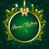 Christmas background with fir branches and snow. Vector illustration Royalty Free Stock Image