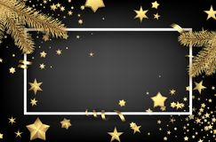 Christmas background with fir branches and stars. Grey Christmas background with fir branches, gold stars and serpentine. Vector illustration Royalty Free Stock Image