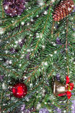 Christmas background with fir branches and toys Stock Photos