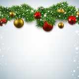 Christmas background with fir branches. Christmas background with fir twigs and colorful balls. Vector illustration Royalty Free Stock Photos