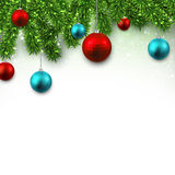 Christmas background with fir branches. Christmas background with fir twigs and colorful balls. Vector illustration Stock Photography