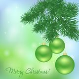 Christmas background with fir branches. Christmas background with fir twigs and  green balls Stock Photo