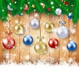 Christmas background with fir and Christmas balls Stock Images