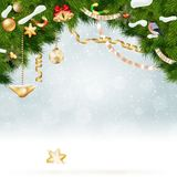 Christmas background with fir and gold balls. Stock Image