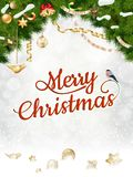 Christmas background with fir and gold balls. Stock Images