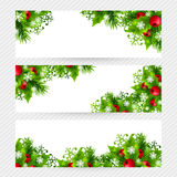 Christmas background with fir and holly decorations Royalty Free Stock Photos