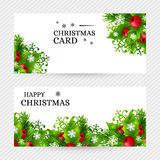 Christmas background with fir and holly decorations Stock Images