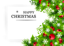 Christmas background with fir and holly decorations Stock Photos
