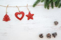 Christmas background - fir leaves and rustic elements decorating stock images