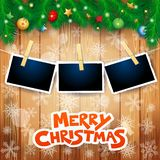 Christmas background with fir, photo frames and text. Vector illustration eps10 royalty free illustration