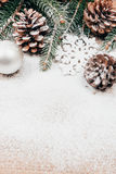 Christmas background with fir and pinecones Stock Images