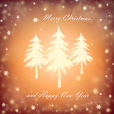 Christmas. Background with a fir and snowflakes Stock Photo