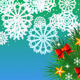 Christmas background with fir and snowflakes Royalty Free Stock Image