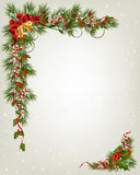 Christmas background with fir and snowflakes. Christmas background with tree branch border with berry and ribbon Royalty Free Stock Images