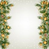 Christmas background with fir and snowflakes Stock Image