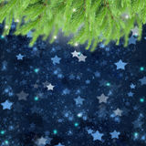 Christmas background with fir traa and stars Stock Image