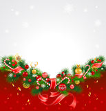 Christmas background with fir tree. Decorations and snowflakes Royalty Free Stock Image