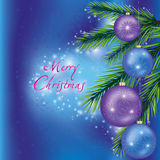 Christmas background with fir-tree branch. Blue Christmas and New Year background with fir-tree branch and Christmas decorations. Vector illustration Stock Photography