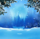 Winter night landscape Royalty Free Stock Images