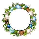 Christmas background with fir-tree branches and balls. Vector eps-10. Vector Christmas circle background with fir-tree branches, blue, green and white balls Stock Photos