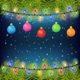 Christmas background with fir tree branches, color balls, and light bulbs. Vector illustration. Eps 10. Christmas background with fir tree branches, color balls Royalty Free Stock Photos