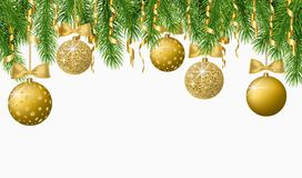 Christmas background with fir tree branches, confetti and shiny gold balls. Vector illustration. Christmas background with fir tree branches, confetti and shiny Stock Images