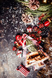 Christmas background with fir tree branches , decoration and cookies gift glass Royalty Free Stock Image