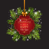 Christmas background with fir tree branches and decorative label Stock Image