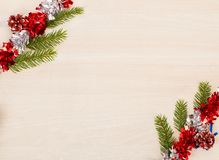 Christmas background with fir tree branches and garland Stock Photography