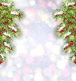 Christmas Background with Fir Tree Branches, Glowing Banner for Happy New Year. Illustration Vector Stock Images