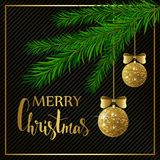 Christmas background with fir tree branches, golden shiny balls and bows. Vector illustration. Christmas background with fir tree branches, golden shiny balls Stock Images