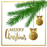 Christmas background with fir tree branches, golden shiny balls and bows. Vector illustration. Christmas background with fir tree branches, golden shiny balls Royalty Free Stock Images