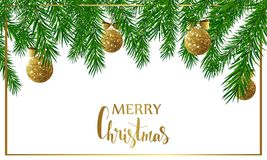 Christmas background with fir tree branches, golden shiny balls and bows. Vector illustration. Stock Photography