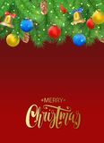 Christmas background with fir tree branches, pine cone, bell, bow and red, blue, yellow balls, confetti Stock Images