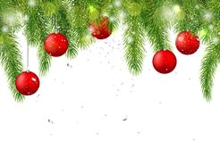 Christmas background with fir tree branches and red balls. Vector illustration.