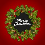 Christmas background with fir tree branches and red berries. Vector illustration Royalty Free Stock Photo