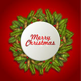 Christmas background with fir tree branches and red berries. Vector illustration Stock Photos