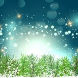 Christmas background with fir tree branches and snowflakes. Christmas background with fir tree branches, snowflakes and stars Stock Photography