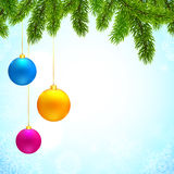 Christmas background with fir tree branches and. Christmas vector background with fir tree branches and colorful hanging balls Royalty Free Stock Photography