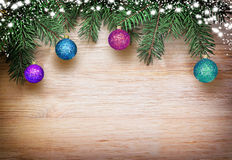 Christmas background fir tree brunches and decorations Royalty Free Stock Photos