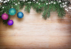 Christmas background fir tree brunches and decorations Royalty Free Stock Photography