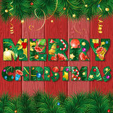 Christmas Background. With Fir Tree, Candy, Branches, Mistletoe and Gift on Red Wooden Boards through Letter, vector illustration Stock Photography