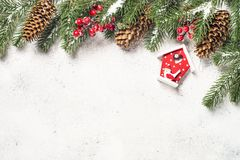 Christmas background with fir tree and cones on white backgroun stock photos