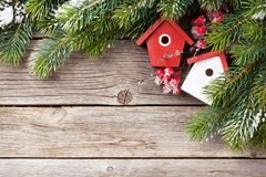 Christmas background with fir tree and decor stock photography