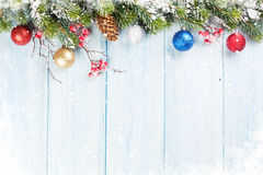 Christmas background with fir tree and decor Stock Image